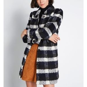 New Modcloth Tailored Wool Plaid Coat